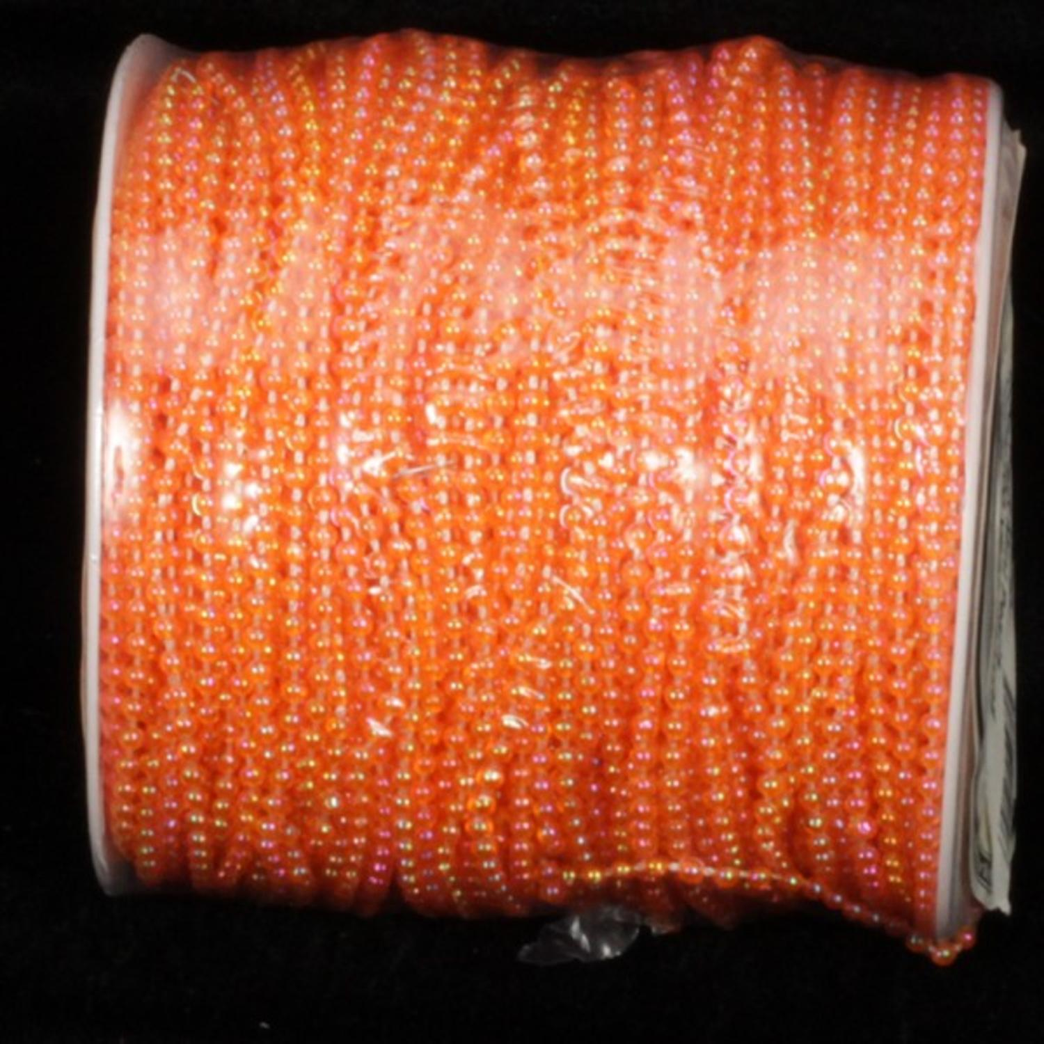 "Orange Faux Mini Pearls Craft Ribbon 1/8"" x 100 Yards"