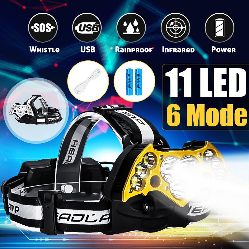 6000Lumens 11x T6 LED USB Rechargeable Headlamp Headlight Flashlight Torch + 2Pcs 18650 Battery + USB Cable