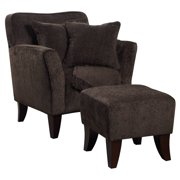 Sunset Trading Cozy Accent Chair with Ottoman and Pillows and Blanket