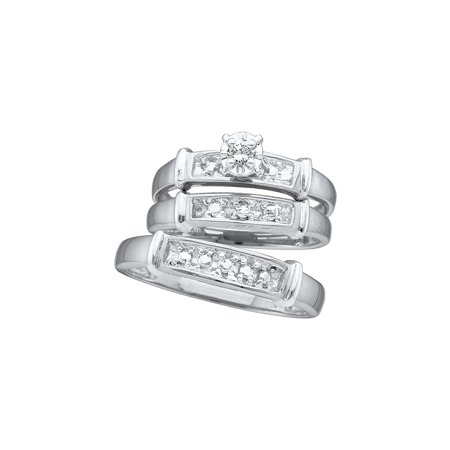 Sizes - L = 7, M = 10 - 925 Sterling Silver Trio His & Hers Round Diamond Solitaire Matching Bridal Wedding Ring Band Set 1/12 Cttw (Matching His And Her Halloween Costumes)