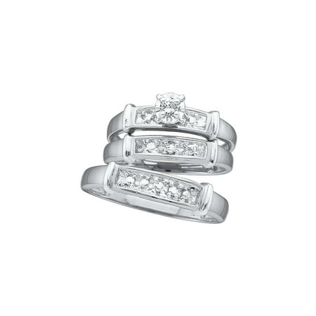 Band Bridal Set (Sizes - L = 7, M = 10 - 925 Sterling Silver Trio His & Hers Round Diamond Solitaire Matching Bridal Wedding Ring Band Set 1/12 Cttw )