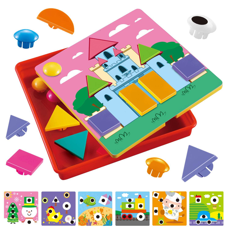 Glonova Button Art Color Matching Mosaic Pegboard Set for ...