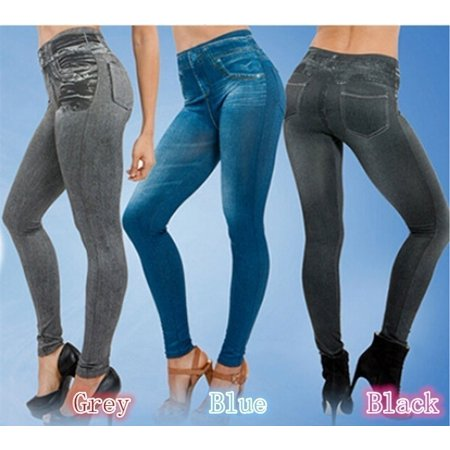 Women Denim Jean Skinny Pants Slim Fit Leggings Elastic Pants