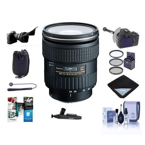 Tokina 24-70mm F/2.8 AT-X Pro FX Lens for Canon EOS Digital SLR Cameras - Bundle with 82mm Filter Kit, Flex Lens Shade, FocusShifter DSLR Follow Focus, Lens