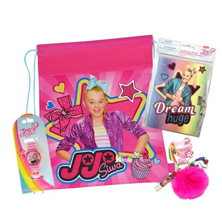 JoJo Siwa Sling Bag Backpack with Secret Diary,LCD Watch & Keychain Travel Set