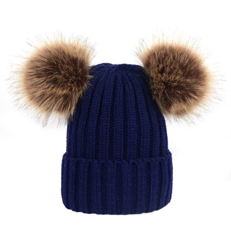 Pixnor - Winter Knit Beanie Bobble Hat Cap with Double Pom Pom Ears for  Women Girls (Navy) - Walmart.com e1e0b45f80a