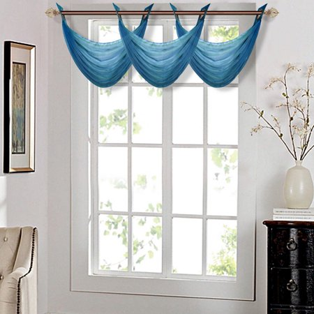K36 SLATE BLUE 1-PC Solid Voile Sheer WATERFALL Valance Window Treatment With 2 Grommets On Top 55