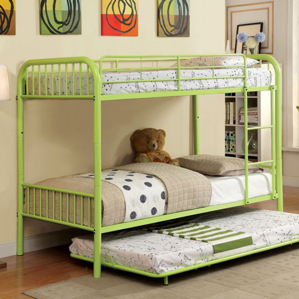 Modern Metal Twin/Twin Bunk Bed, Green