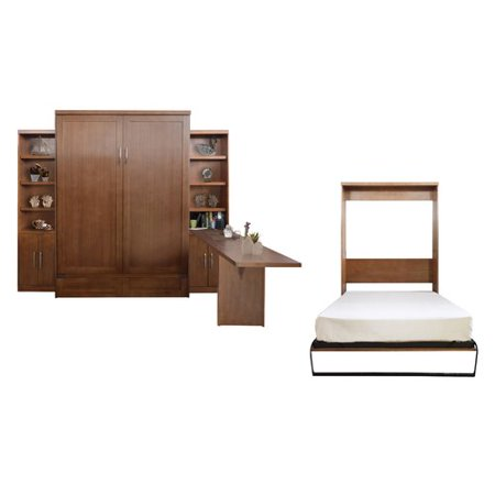 Brayden Studio Quinn Queen Murphy Bed With 2 Door Bookcases And Desk
