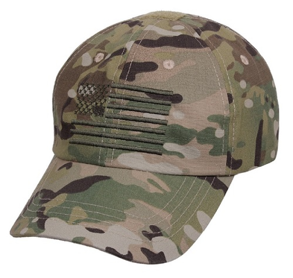 Adult Multicam Camouflage Ball Cap with Embroidered American Flag by