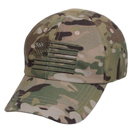 (Adult Multicam Camouflage Ball Cap with Embroidered American Flag)