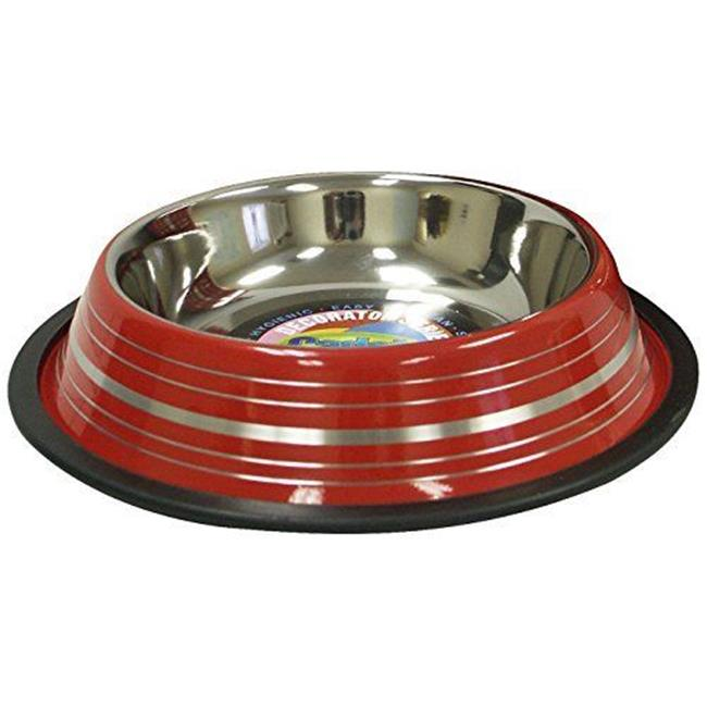 IMS 04205 Non-Skid Stainless Steel Dog Bowl - 32 oz. , Red