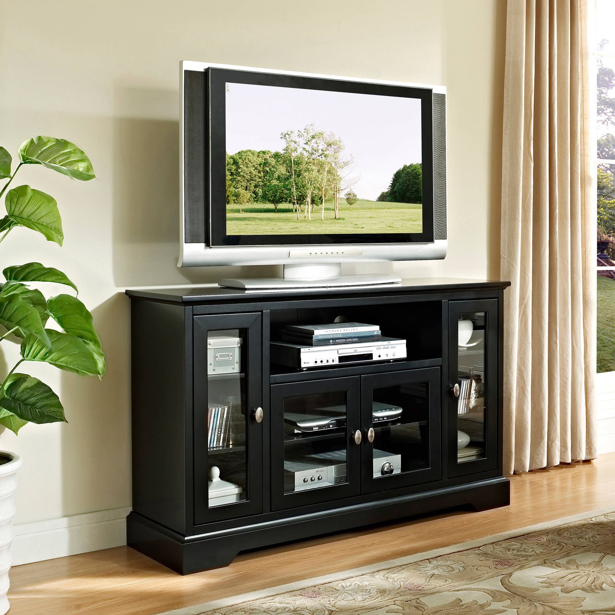 "Walker Edison Highboy-Style Wood Media Storage TV Stand Console for TVs up to 55"", Multiple Finishes"