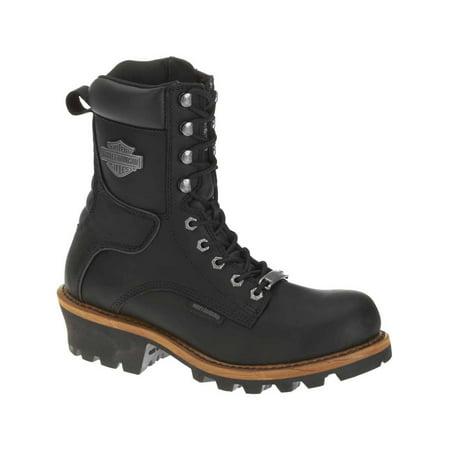 Black Logger Motorcycle Boots (Harley-Davidson Men's Tyson Logger Black 7.5-Inch Motorcycle Boots, D95188, Harley)