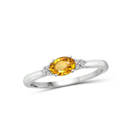 0.46 Carat T.G.W. Citrine Gemstone and White Diamond Accent - Precious Topaz