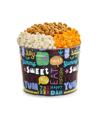 The Popcorn Factory Fun With Snacks 3-Flavor 2 Gallon Popcorn Tin