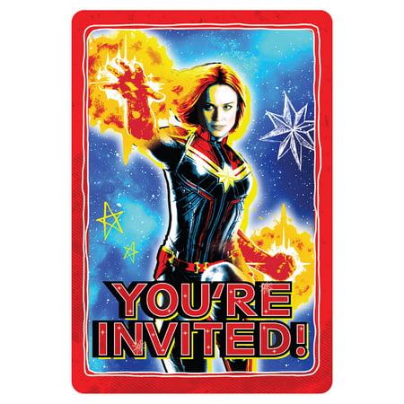 Captain Marvel Invitation Set w/ Envelopes (8ct) (Movie Theater Invitations)