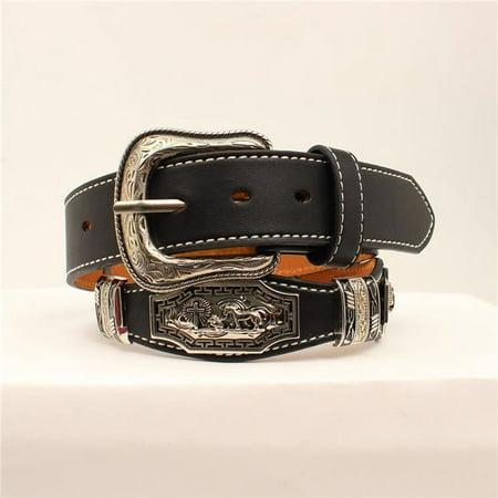 3D Belt DWC1370-36 Black Strap with Antique Praying Cowboy Belt - Size 36 - Cowboy Belt