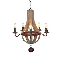 """20"""" Vintage French Country Wood Metal Wine Barrel Chandelier Pendant (5 Light Heads) Rustic Iron"""