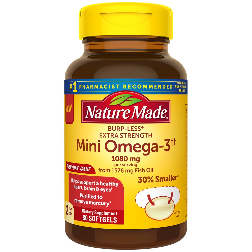 Nature Made BurpLess Extra Strength 1080 mg Mini Omega 3 Fish Oil for Healthy Heart, Brain, and Eye Support, 80 Softgels