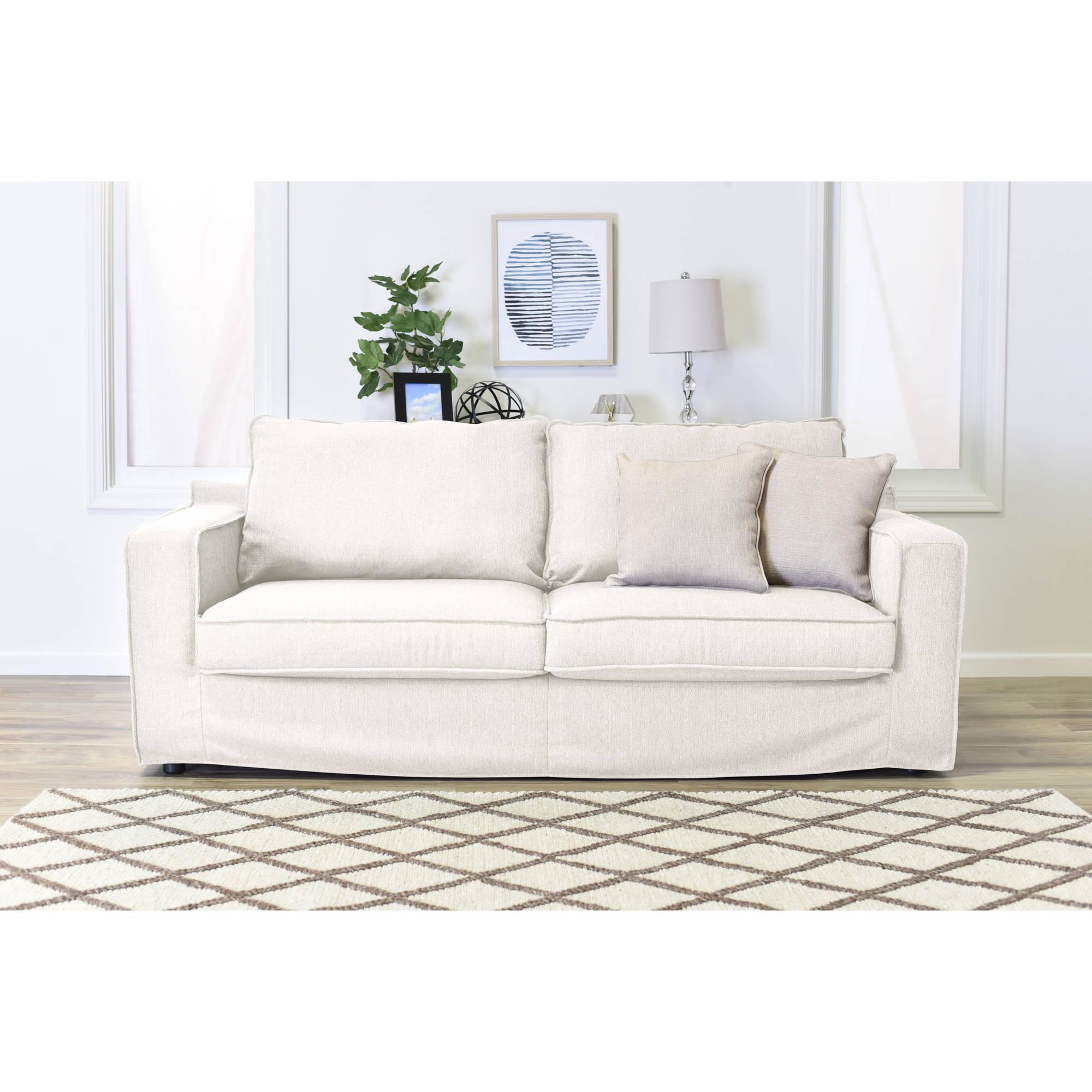 """Serta Colton 85"""" Sofa with Slipcover in Cream"""