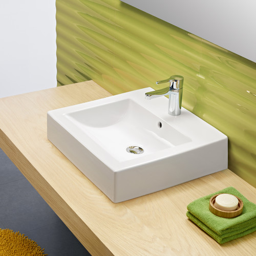 Bissonnet Universal Ceramic Rectangular Vessel Bathroom Sink with Overflow