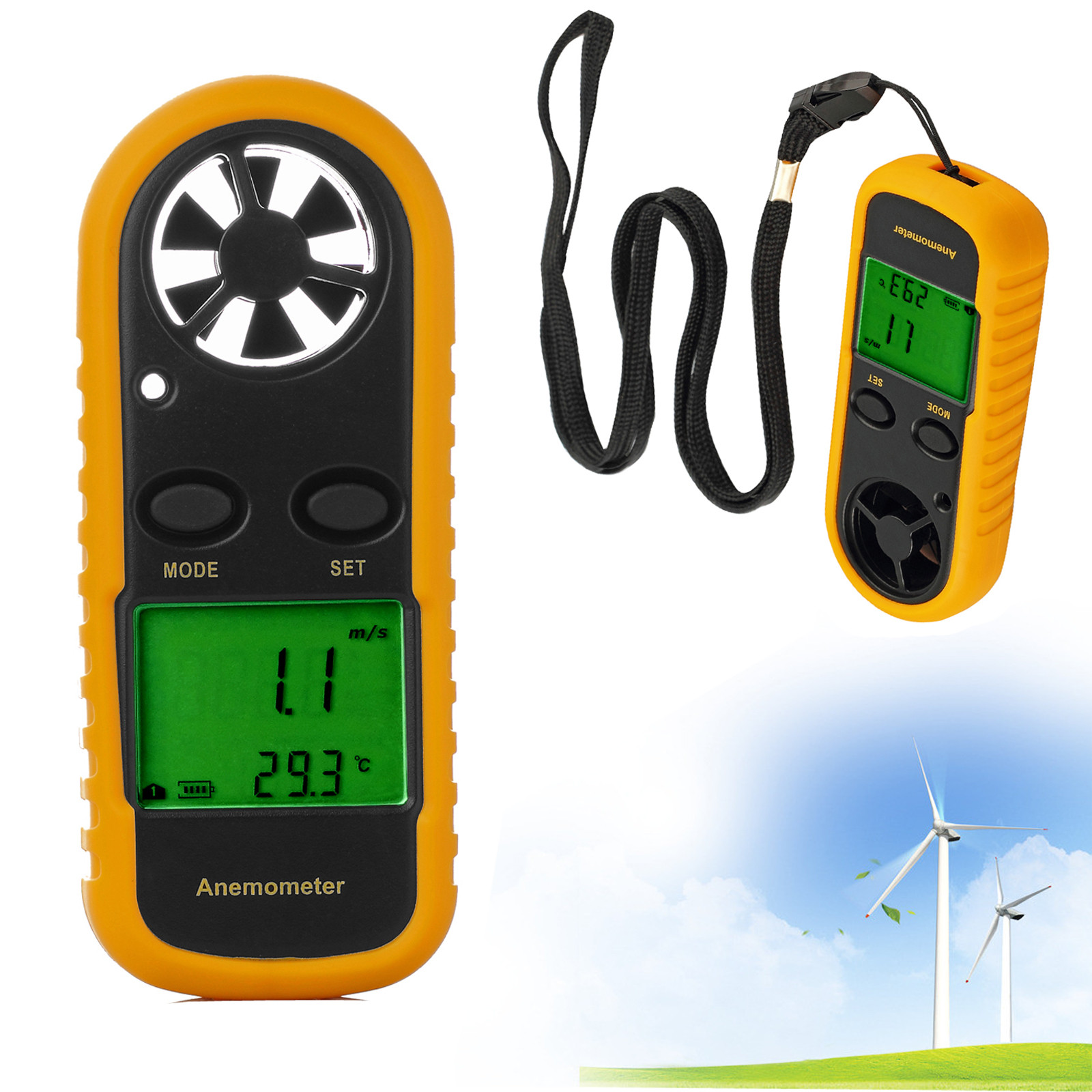 Proster Digital LCD Handheld Wind Speed Anemometer Sailing Surfing Wind Speed Velocity... by