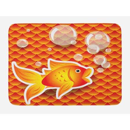 Orange Bath Mat, Small Goldfish Talking with Bubbles Random Scallop Patterns Nautical Sea Print, Non-Slip Plush Mat Bathroom Kitchen Laundry Room Decor, 29.5 X 17.5 Inches, Burnt Orange, - Small Goldfish