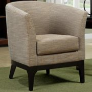 A Line Furniture Platenik Mid Century Barrel Back Textured Woven Fabric Accent Chair