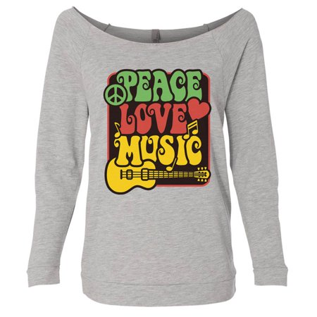 "Women's Cute Hippie ""Peace Love Music"