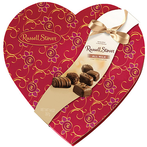 Russell Stover All Milk Valentine's Assorted Fine Chocolates Decorative Heart, 24 count, 14 oz