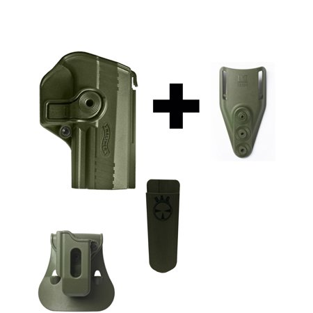 IMI Defense ZSP08 Single Mag Pouch & Paddle + Z1425 360° Rotate Holster  Walther PPX, OD Green + Z2300 Low Ride Belt Loop Attachment + Ultimate Arms