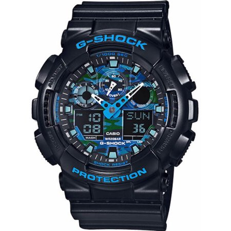 Casio G Shock Black And Blue Ana Digi Sports Watch Ga100cb 1A