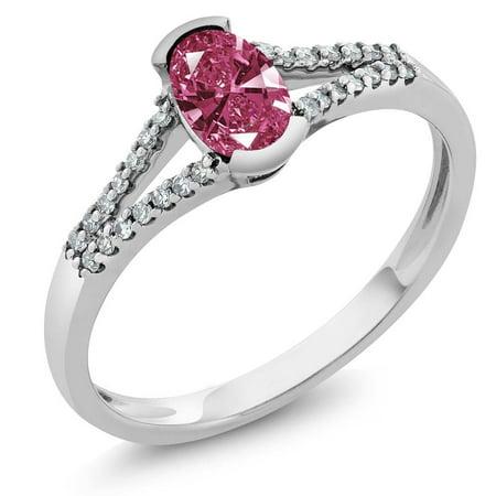 08ac7d262 Gem Stone King - 10K White Gold Women's Red Diamond Ring Made With Swarovski  Zirconia - Walmart.com