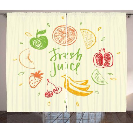 - Fruit Curtains 2 Panels Set, Eco Themed Colorful Sketch Food Pomegranate Peach Lime Pattern on Cream Background, Window Drapes for Living Room Bedroom, 108W X 108L Inches, Multicolor, by Ambesonne