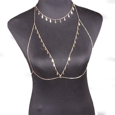 Charm Rhinestone Sexy Bikini Chest Bra Body Chain Body Necklace Golden (Gold Body Necklace)