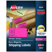 "Avery 2"" x 4"" Neon Shipping Labels with Sure Feed, 1,000 Labels (5974)"