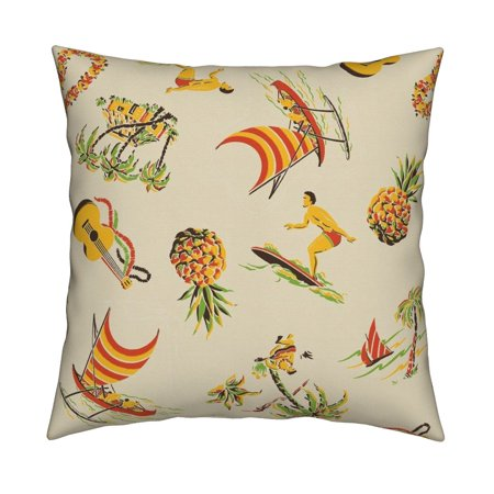 Hawaiian Beach Culture Surfer Throw Pillow Cover w Optional Insert by Roostery