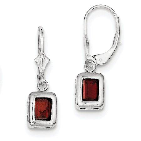 Sterling Silver 7x5mm Emerald Cut Garnet Leverback Earrings 26x7