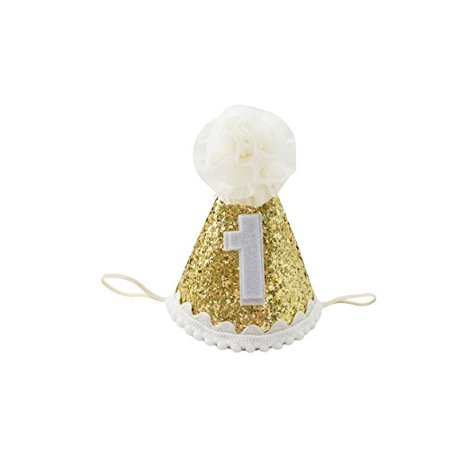 PoshPeanutR Beautiful Floral Baby Crown First Birthday Cone Hat Sparkle And Gold Made In The