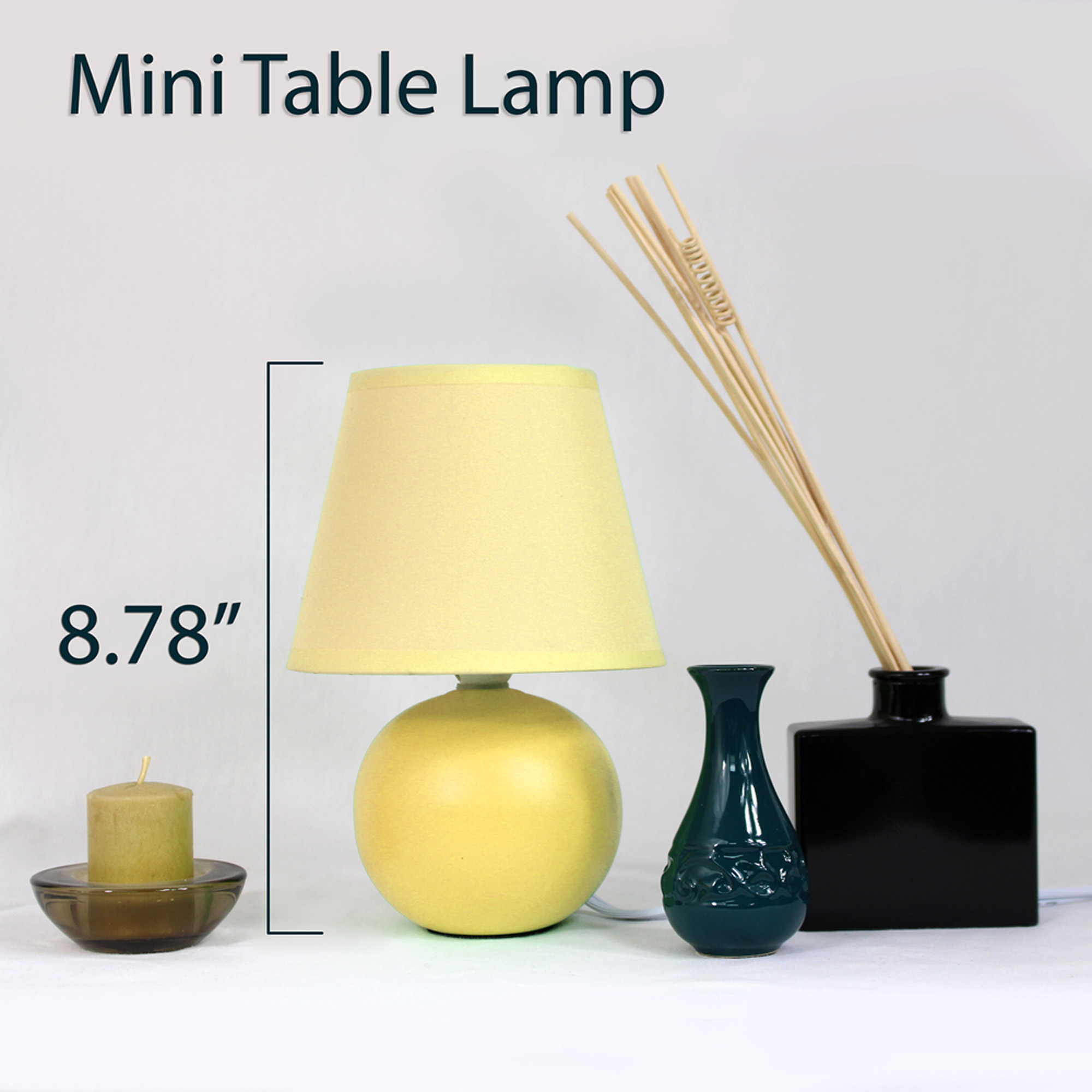 Simple Designs Mini Ceramic Globe Table Lamp, Black   Walmart.com