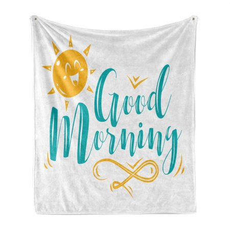 Saying Soft Flannel Fleece Throw Blanket, Beach Concept Smiling Sun and Wavy Morning Greeting Message, Cozy Plush for Indoor and Outdoor Use, Turquoise Earth Yellow, by Ambesonne