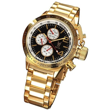 Mens Gold Multifunction Watch Big Black Dial Metal Bracelet Day Date Large Face