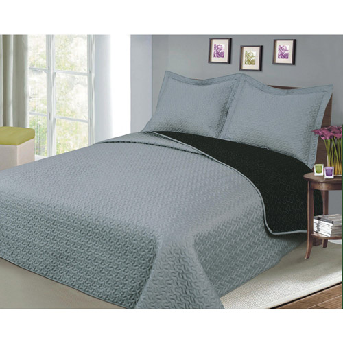 Luxury Fashionable Reversible Solid Color Bedding Quilt Set, Black/Grey