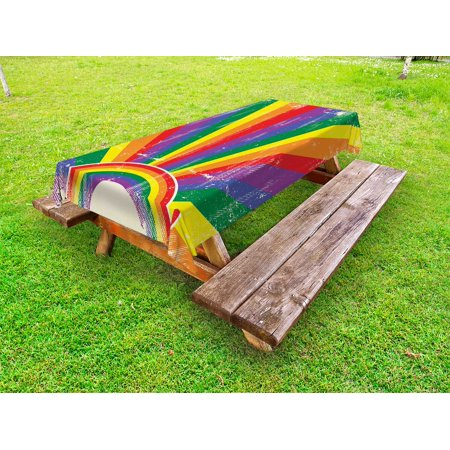 Festival Table (Vintage Rainbow Outdoor Tablecloth, Weathered Looking Colorful Rays Burst Gay Parade LGBTI Festival Celebration, Decorative Washable Fabric Picnic Table Cloth, 58 X 84 Inches,Multicolor, by Ambesonne)