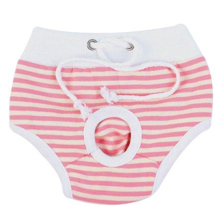 Pet Dog Stripes Pattern Drawstring Waist Diaper Pants White Pink Unerwear S - image 2 de 2