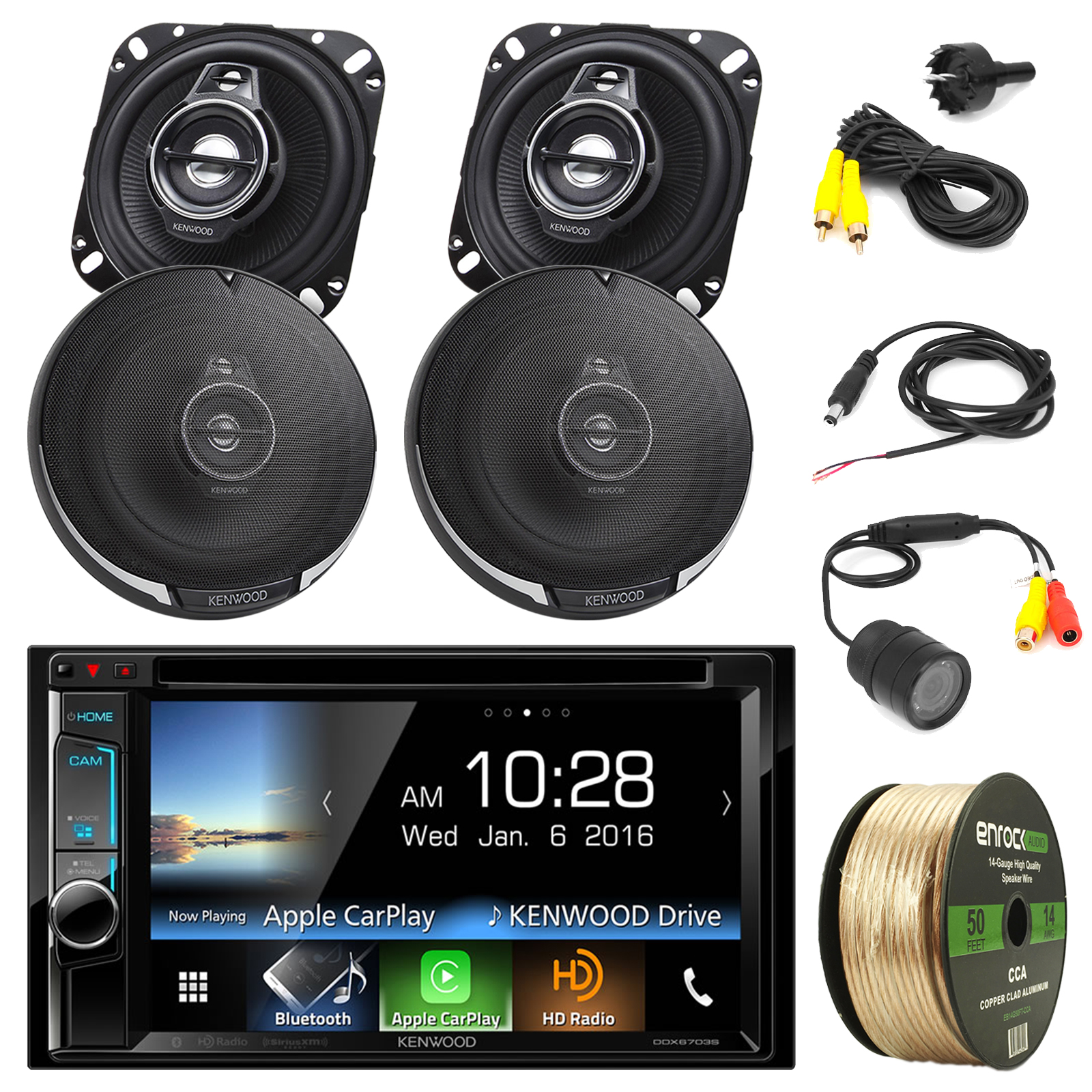 "Kenwood DDX6703S Car Stereo w/ 6.2"" Touch Screen + 2 x Kenwood KFC-1095PS 4"" 3-Way Black Speakers ( 2 pairs)+ PYLE PLCM22IR Rear View Camera with Night Vision + Enrock 14 Gauge 50FT Speaker Wire"