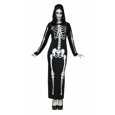 SKELETON DRESS ADULT HALLOWEEN COSTUME M (Skeleton Halloween Costume Dress)
