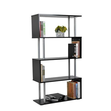 HomCom S-Shape 5-Shelf Display Unit/Bookcase - Black