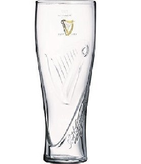 Guiness Tall Draught Beer Glass (4 Pack) by